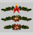 christmas decoration fir holly wreath bow ribbons vector image vector image
