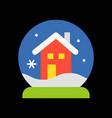 christmas house snow globe merry christmas filled vector image