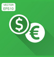 coins stack icon in flat style dollar euro coin vector image