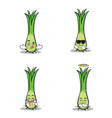 collection of leek character set vector image vector image