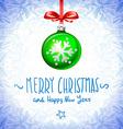 Cristmas balls green on blue background snowflake vector image