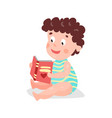 cute cartoon curly toddler boy sitting on the vector image vector image