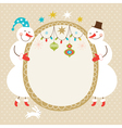 Cute snowmen and frame for text vector image vector image