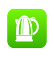 electric kettle icon green vector image vector image