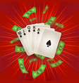 flat royal flush in spades rain of dollar vector image vector image