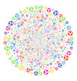 football ball fireworks round cluster vector image