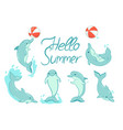 greeting card with dolphins with inscription vector image