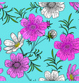 hand drawn colored cosmos flower seamless pattern vector image vector image