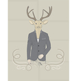 Hand Drawn of Deer in a suit vector image vector image