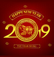 happy new year 2019 chinese art style pig 001 vector image vector image