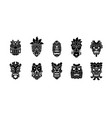 hawaiian head mask tiki totem collection tribal vector image
