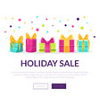holiday sale banner landing page template with vector image