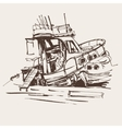 ink sketch drawing of boat in marine travel vector image vector image