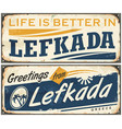lefkada vintage tin sign vector image vector image