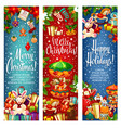 merry christmas gifts greeting banners vector image vector image