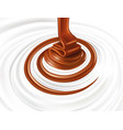 milk swirl with hot chocolate flow vector image vector image