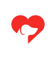 pet care logo dog in heart flat icon animal vector image