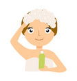 pretty woman soaping her head on white background vector image