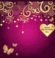 purple valentines frame with golden hearts vector image vector image