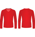 red v neck long sleeve t shirt vector image vector image