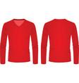 red v neck long sleeve t shirt vector image