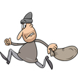 running thief with sack cartoon vector image