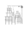 scaffold and tower crane vector image vector image