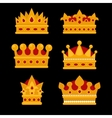 Set of gold crown flat icons vector image vector image