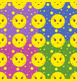 set of seamless patterns of cartoon smiling moons vector image