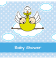 Stork with twins vector image vector image