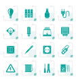 stylized electrical devices and equipment icons vector image