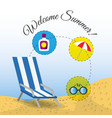 summer umbrella sun glasses chair and sunscreen vector image vector image