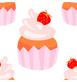 sweet seamless pattern with cupcakes on a white vector image