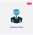 two color computer systems analyst icon from vector image vector image