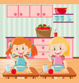 two kids eating breakfast in kitchen vector image