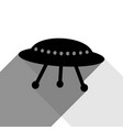 ufo simple sign black icon with two flat vector image vector image