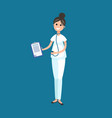 veterinarian doctor with documents on clipboard vector image