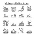 water pollution icon set in thin line style vector image vector image