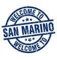 welcome to san marino blue stamp vector image vector image