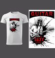white t-shirt with rock guitarist vector image
