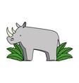 wild rhinoceros with bush jungle vector image