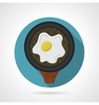 Flat color icon for fried egg vector image
