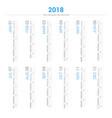 calendar 2018 in vertical design