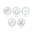 ayurveda elements icons set symbols vector image