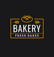 bakery logo linear logo bread on dark vector image