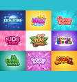bazone kids playroom cartoon banners colorful vector image