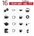 black coffe icons set vector image vector image