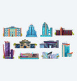 buildings icons city hotels and night clubs set vector image vector image