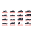 Car Type and Model Objects icons Set automobile vector image vector image