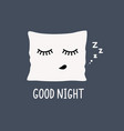 cartoon funny pillow with closed lashes sleeping vector image vector image